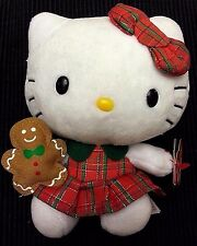 "6"" Plush Hello Kitty Ty Beanie Baby  with gingerbread man Scottish NEW"