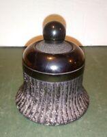 Antique Art Deco Obsidian Inkwell Unusual Carved Black Glass Ink Pot Box VTG