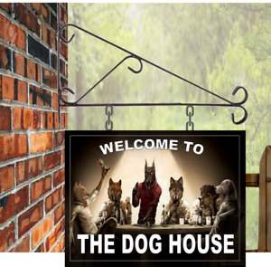Dog House Personalised Hanging Pub sign, Home Bar, Man Cave, Free P&P