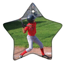 Star Shaped Ceramic Ornament Personalized With Photo on Two Sides- Free Shipping