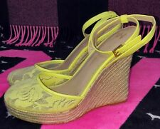 Victoria's Secret Lacy Espedrille High Heel Wedge Sandals Size 9B Yellow NEW