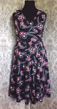 Cotton dress by RED HERRING Size 14 Black with red & white floral