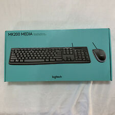 Logitech Mouse And Keyboard Media Kit Combo MK200 NEW Media Controls Wired Ergo