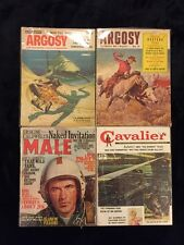Argosy, Male, Cavalier Lot Of 4 Mens Pulp Fiction Magazines 1950s & 1960s