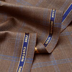 STUNNING MADE IN UK BROWN CHECK MERINO WOOL SUITING FABRIC SUIT TROUSERS SKIRT