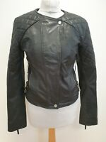 P781 WOMENS FRENCH CONNECTION BLACK L/SLEEVES LEATHER BIKER STYLE JACKET UK M 10