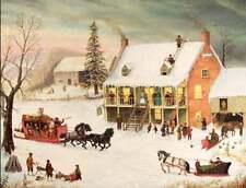 Christmas Party Folk Art Horse Sleighs Children Sledding