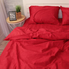 100% Natural Cotton Duvet Cover in Red Twin Full Queen Custom Size