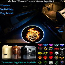 2x3D Ghost Rider Flaming Skull Logo Wireless Car Door Projector Shadow LED Light