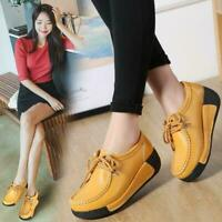 Women's Wedge Mid Heels Leather Creeper Lace Up Leisure Shoes Round Toe Casual