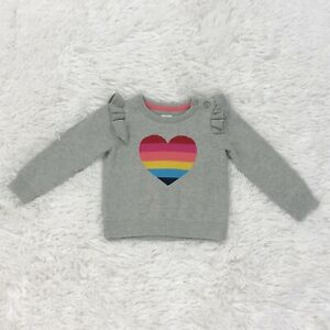 Baby Gap 12-18Mo Sweater Pullover Rainbow Heart Infant Toddler Ruffled Shoulder