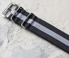 Skunk Bond 20mm nylon slip-through watch strap with stainless steel buckles
