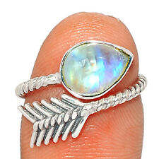 Arrow - Moonstone - India 925 Sterling Silver Ring Jewelry s.4 BR84780