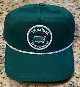 Masters Augusta National Golf Club Green Old Style Patch Rope Hat NEW with tags