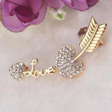 Wrap Cuff Earring Clip Gold C Charm Love Heart Arrow Crystal Ear