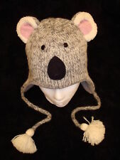 KOALA HAT knit ADULT ski cap animal FLC LINED gray grey bear toque beanie pilot