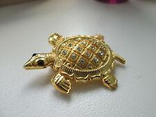 Vintage GoldTone Turtle / Tortoise Brooch - Beautiful Clear & Black Diamante