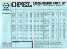 Opel Price List October 1973 Kadett Manta Ascona Rekord Commodore