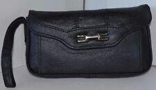 Vintage Black Wrist Bag Purse Checkbook Leather