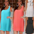 2016 Women Ladies Sleeveless Evening Party Summer Beach Dress Chiffon Mini Dress