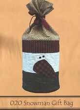 """Wooden Bear Quilt Designs Snowman Rounded Gift Bag Applique Pattern 020 15"""" x 6"""""""