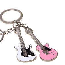 1 Pair Fashion Lover Music Guitar Keychain White & Pink Enamel Key Ring Pendant