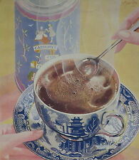 Cadburys Drinking Chocolate Willow Pattern Cup Saucer 1931 Advertisement Ad 8384