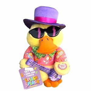 """Vintage Dan Dee Splish Splash Yellow Duck Singing 9"""" Plush Stuffed Animal"""