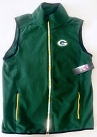 Green Bay Packers NFL Team Apparel Men's Green Full-Zip Fleece Vest S/M/L NEW
