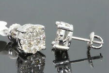 10K WHITE GOLD .88 CARAT MENS WOMENS 8 mm 100% GENUINE DIAMONDS EARRING STUDS