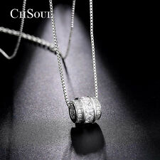 Women Princess Cut Cubic Zirconia Pendant Necklace Link Chain Lady Charm Jewelry