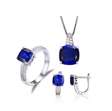 925 Sterling Silver Blue Crystal Earring Pendant Necklace Ring Set Bride Jewelry