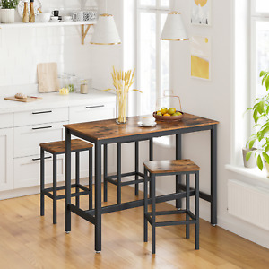Rustic Farmhouse Table Set, 2 Bar Stools, Industrial for Kitchen or Dinning Room