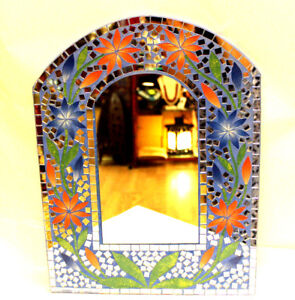 Beautiful Wall Mirror Gift Colorfil Painted Floral Blue Mosaic Inlay Decor Arch