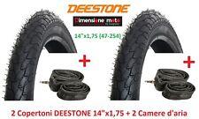 "2 copertoni Deestone 14x1 75 (47-254) D-818 2 camere per bici 14"" Graziella"