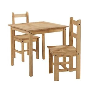 Corona Dining Table and 2 Chairs Rio Square Set Solid Pine by Mercers Furniture