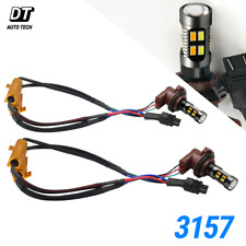 Error Free White/Amber 3157 LED DRL Switchback Turn Signal Parking Light Bulbs