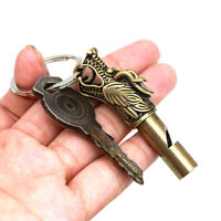 1pc Emergency Survival Brass Dragon Statue Pattern EDC Whistle KeyChain cam AB