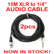 """2x 10-Metre QUALITY XLR Female to Male 1/4"""" Microphone Link Cable Lead Cord 10M"""