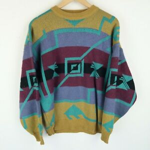 Vintage 90'S Mens Crazy Abstract Cosby Sweater Jumper SZ S-M (E9412)