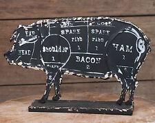 RUSTIC DECOR Butchers Pork Chart Standing Pig Figure Primitive Kitchen Decor