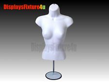 Female Mannequin Form + Stand-Trade Show Torso Display Women Dress Shirt - White