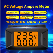 Digital Voltage Ampere Meter Lcd Screen Voltmeter Dual Display Ac 40 400v 0 100a