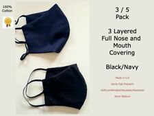100% Cotton 3 Layered Face Coverings Soft Washable Reusable Breathable U.K