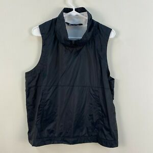 Under Armour Womens Large Black 1/2 Zip Vest Top Sleeveless Pocket Nylon DD76