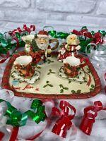 Miniature Resin Tea Set Christmas Santa Holly Collectible Decor