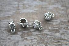 50pcs Silver tone Bail Bead Fit European Charm Bracelet  11x6mm hole size 5.2mm