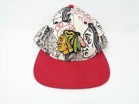 Chicago Blackhawks 47 Forty Seven Hat Logo White Red All Over Logo NHL