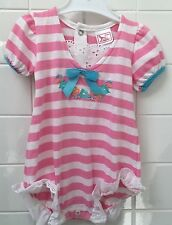 Vintage Baby Girls Size 00 Pink Striped Summer One Piece Romper As New
