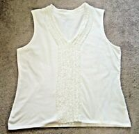 Talbots White Sleeveless V-Neck Top Women's L Petite Ruffle Front Cotton Knit